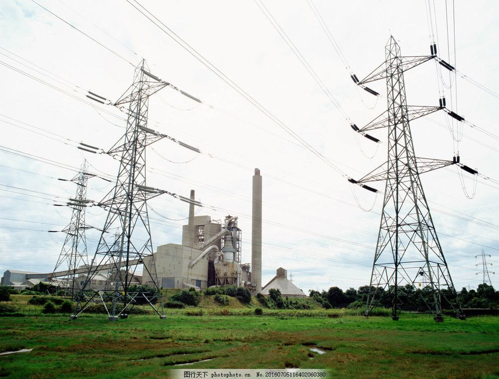 高压线 电线 厂房 工厂 工业生产 现代科技 摄影 305dpi jpg