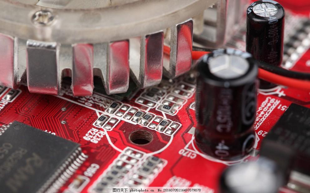 电子元件 电容 ic电路 电路板局部特写 电路板 工业生产 现代科技