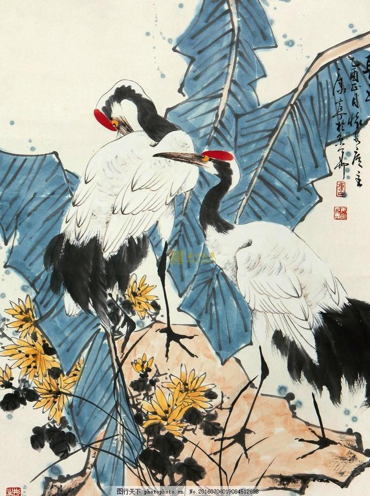 仙鹤芭蕉图 国画 水墨画 花鸟画 写意画 中国画 仙鹤 芭蕉 艺术绘画