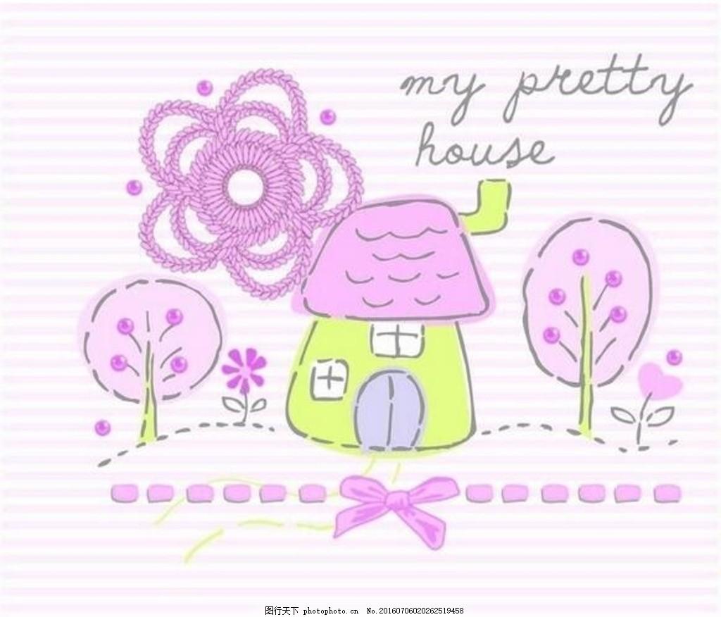 手绘卡通画房屋树蝴蝶结