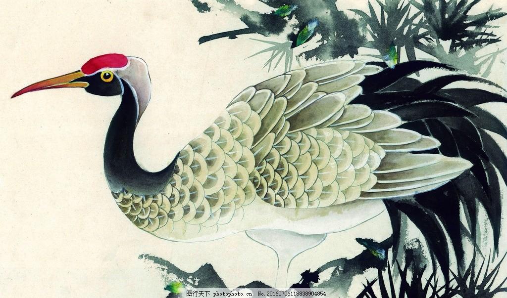 国画 水墨画 鱼虫画 写意画 中国画 仙鹤 艺术绘画 设计 文化艺术