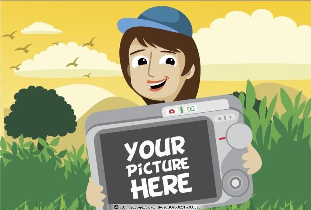 拿着相机的卡通女孩 相机照相 女孩矢量素材 戴帽子女孩 旅游女孩素材