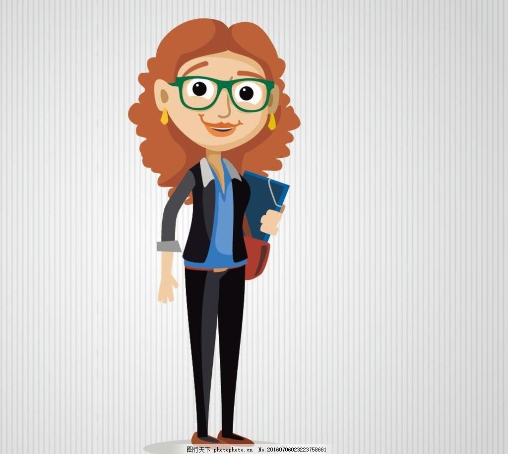 卡通女教师 老师 卡通女老师 女教师矢量图 戴眼镜的老师 人物矢量