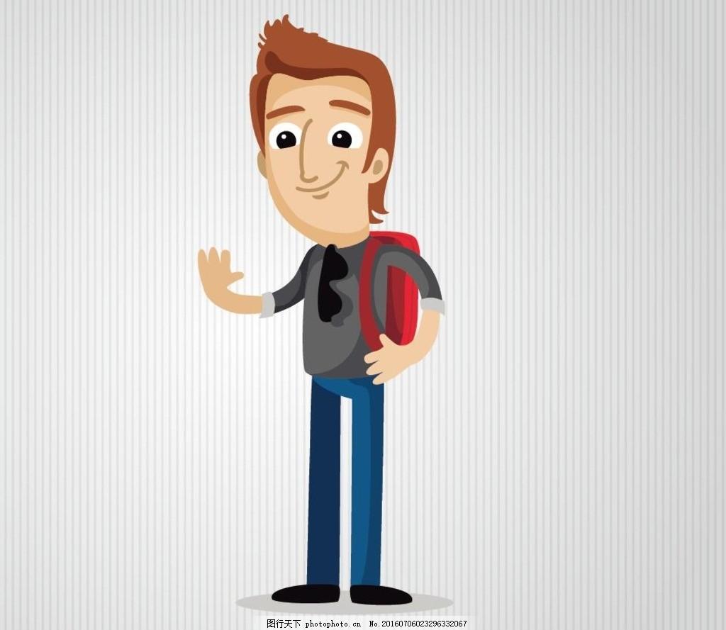 初中学生 大学生 卡通大学生 卡通男生 卡通背书包 背书包男生 人物矢