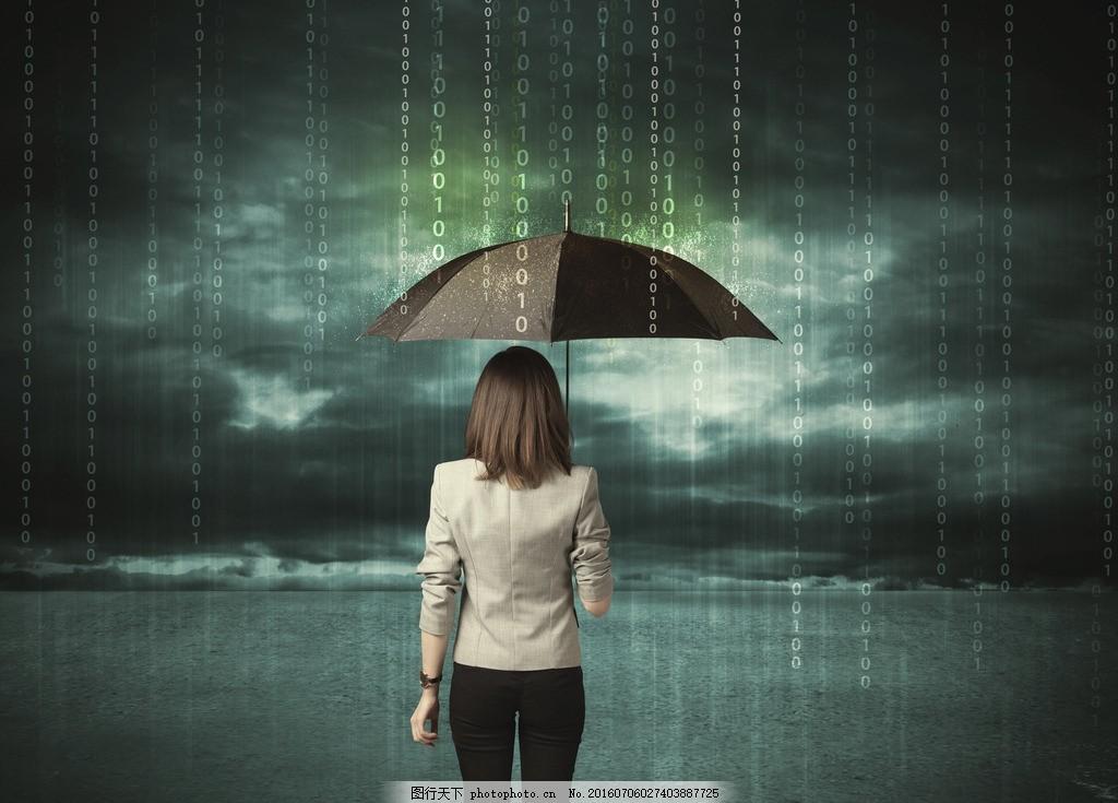 撑伞的女人 下雨 背影