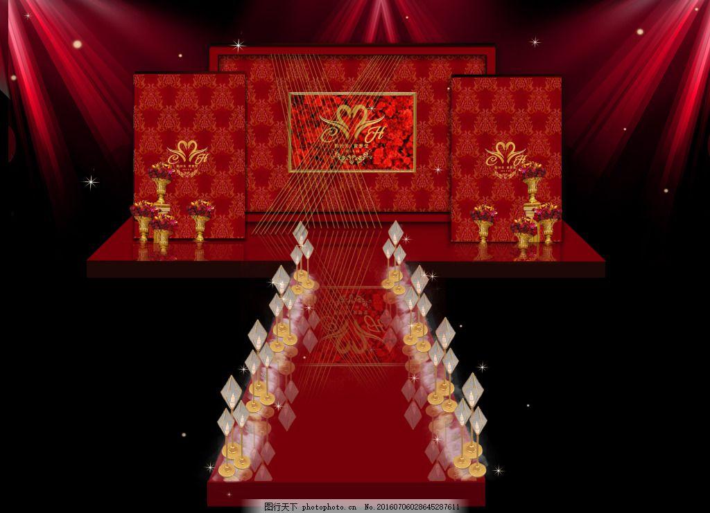 欧式红色婚礼主舞台 婚礼舞台效果图 红色 欧式 简约
