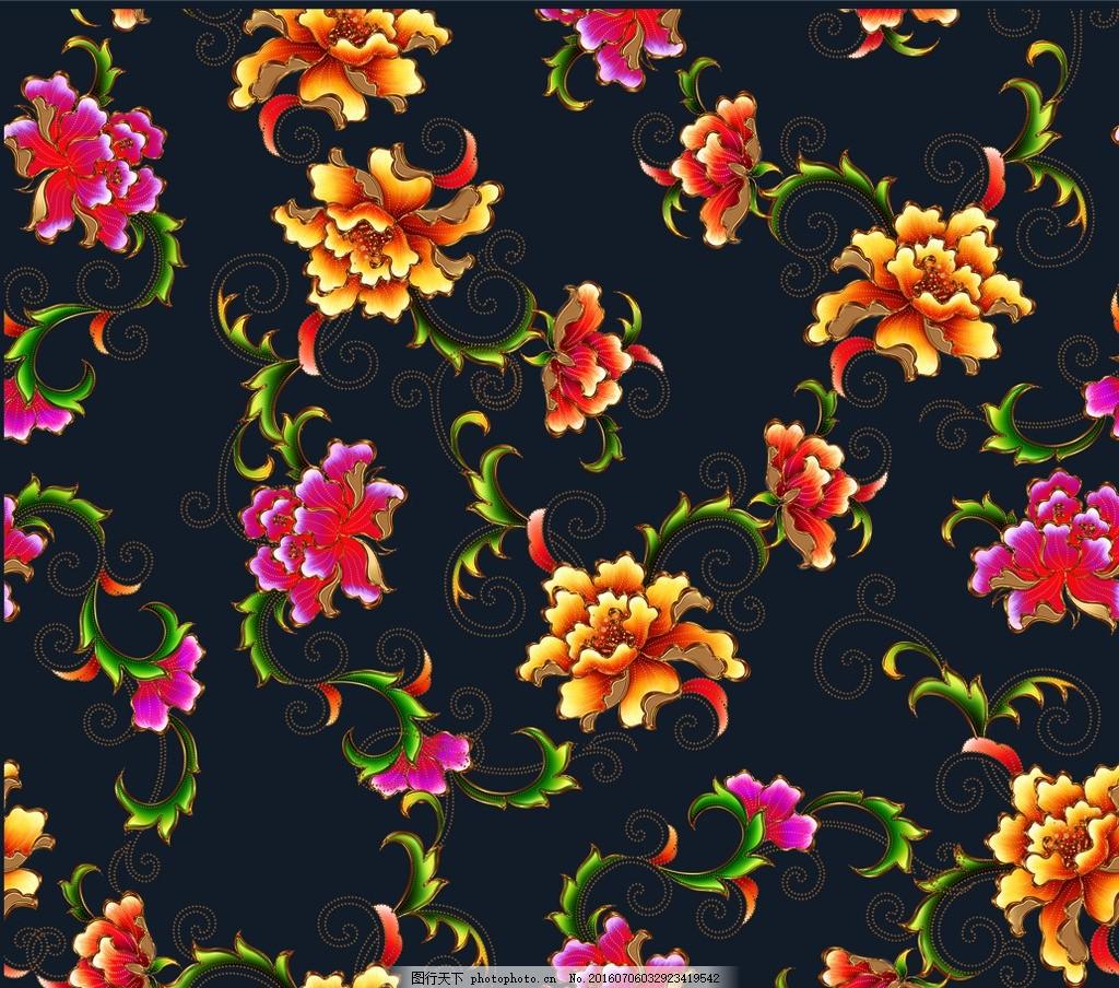金边牡丹花 花朵 手绘花朵 回位图 叶子 红色 黄色 蓝色底 设计 psd