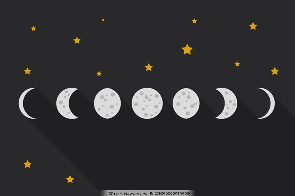 手绘花纹月亮矢量图