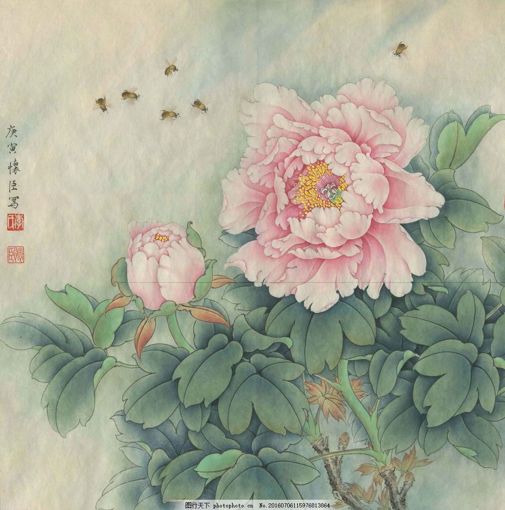轻红蔓引蜂 工笔画 国画 水墨画 牡丹 蜜蜂 美术绘画 文化艺术