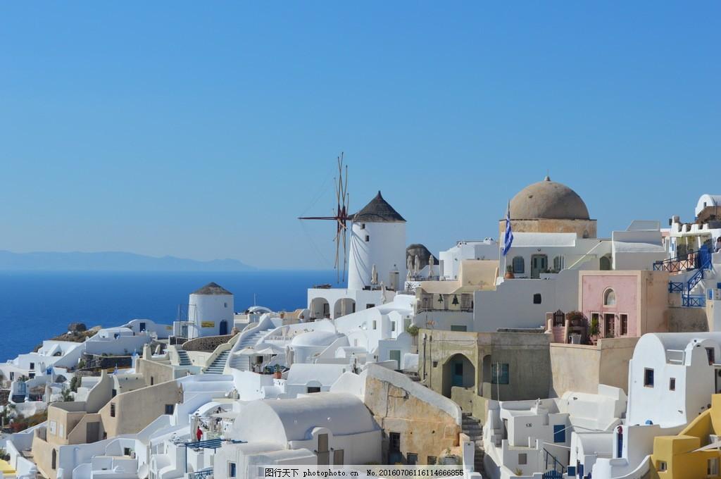 希腊白色建筑风景图片素材下载 希腊 圣托里尼 建筑 希腊小镇 白色