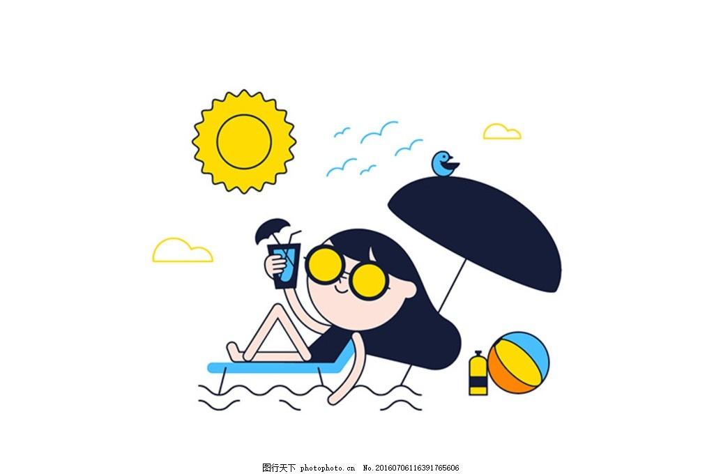 夏天度假沙滩 沙滩 海报 贝壳 海星 浪花 海边 螃蟹 海鸥 椰子树 海