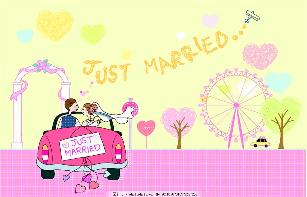 婚车上的情侣 汽车 结婚 婚礼 心形 爱心 男孩女孩 卡通 插画