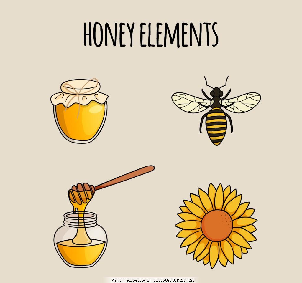 手绘矢量蜂蜜素材