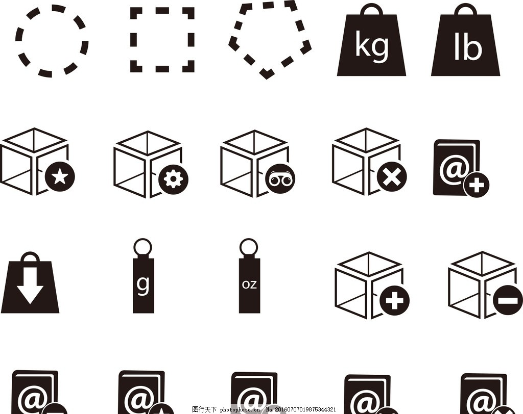 网页小图标,矢量素材 黑白图标 卡通图标 黑白标志-图