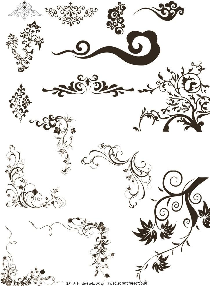 圆形花纹图案矢量图 花纹 花朵 花纹花边 古典花纹 飘逸花纹 云纹树