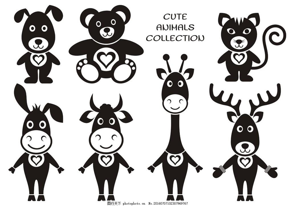 可爱动物按钮图标图片