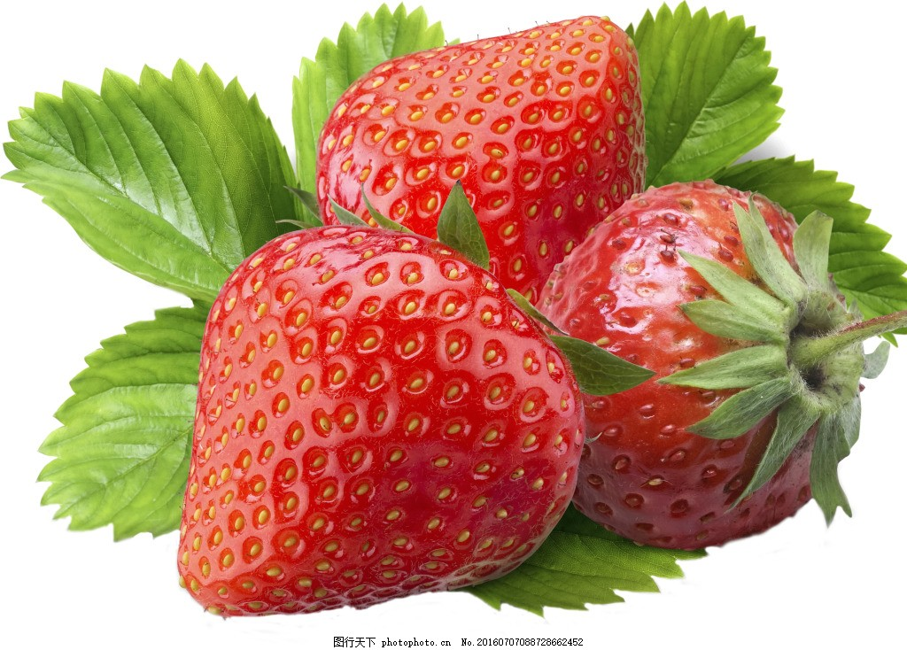 草莓 精品草莓 绿叶 晶莹剔透