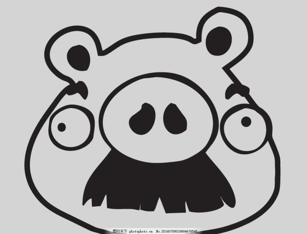 猪头线稿矢量图 愤怒的小鸟 小饰品 小动物 猪头 可爱小卡通 小猪