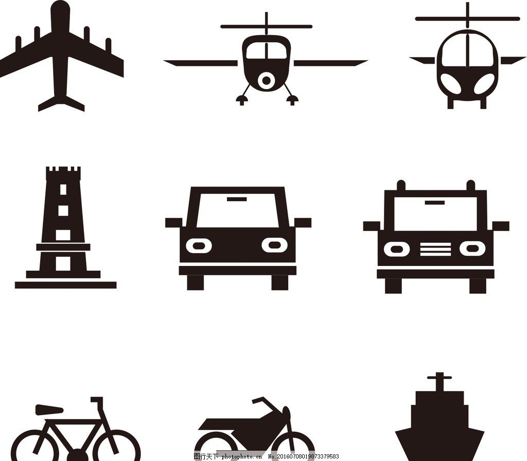 飞机图标 自行车 轮船 音乐素材 网球矢量素材 黑白图标 卡通图标