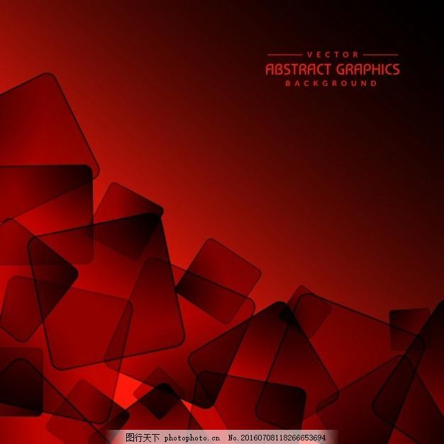 红色背景与抽象的正方形形状