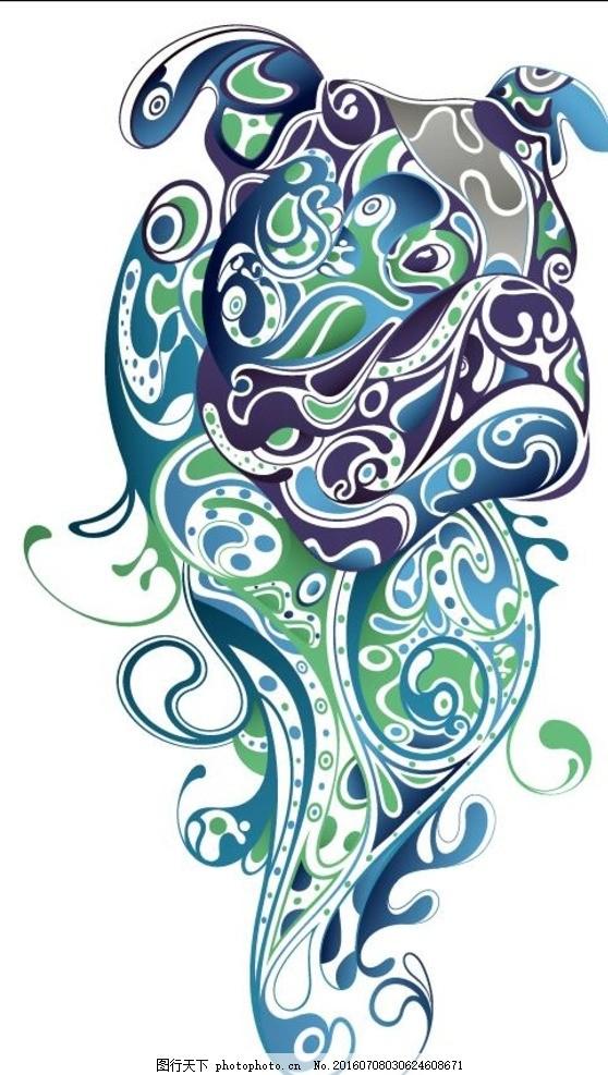时尚花纹 抽象插画 卡通狗 印花图案 底纹边框 矢量素材 抽象服装印刷
