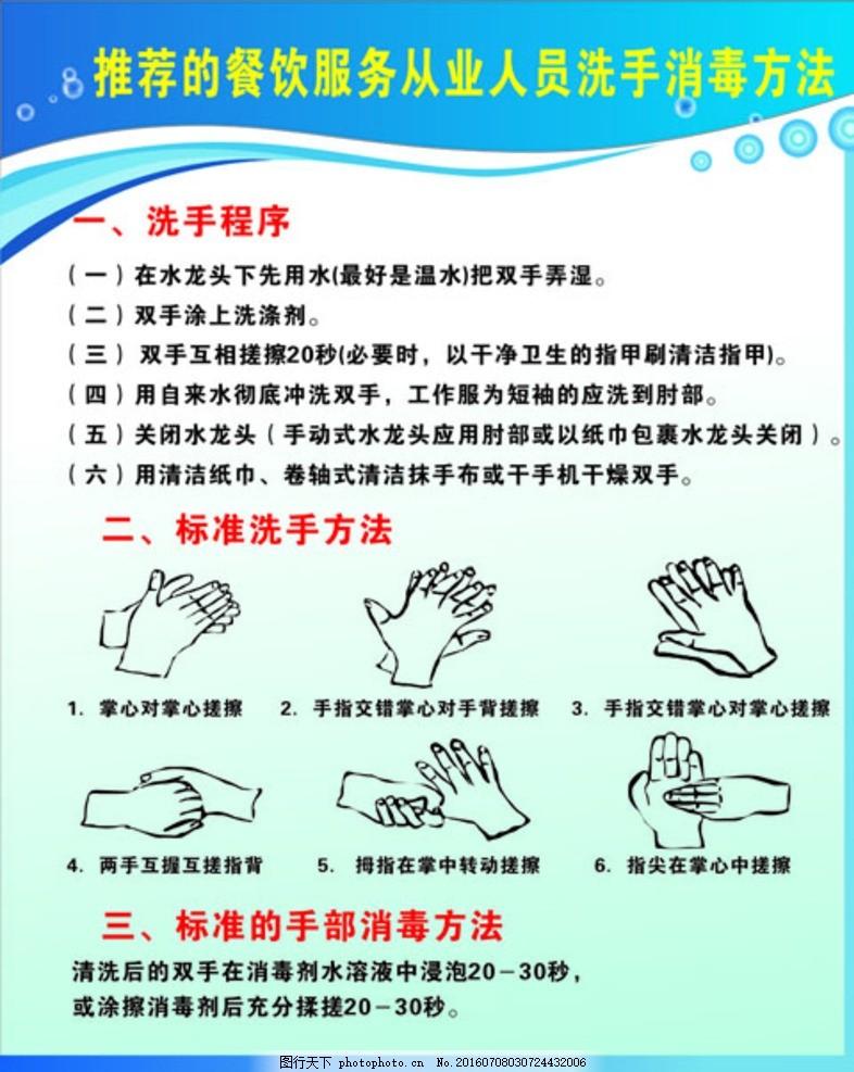 洗手消毒方法 餐饮服务 从业人员 制度 卫生 安全 检查 监督