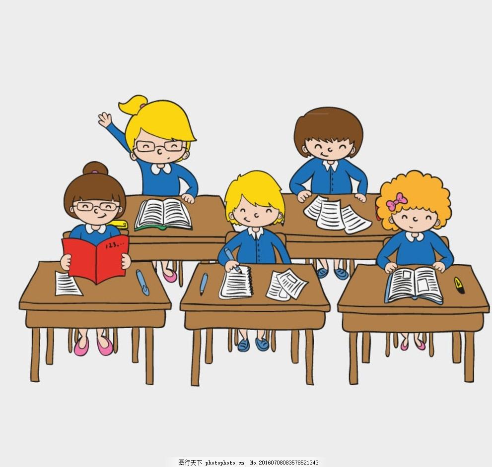 卡通课堂背景矢量素材 课桌 桌椅 学生 校园 矢量图 上课的小孩