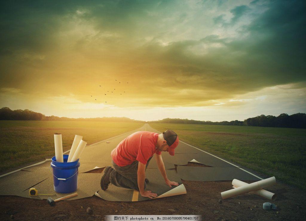 创意商务人士广告 黄昏 人物背影 创意科技 主题 职业人物 商务男人图片