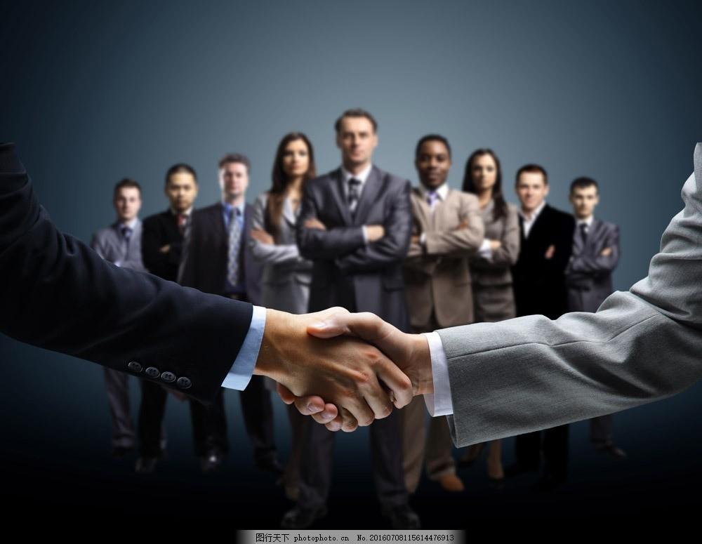 团队人物与握手图片素材 团队 职业人物 商务人士 自信 成功人物 白领