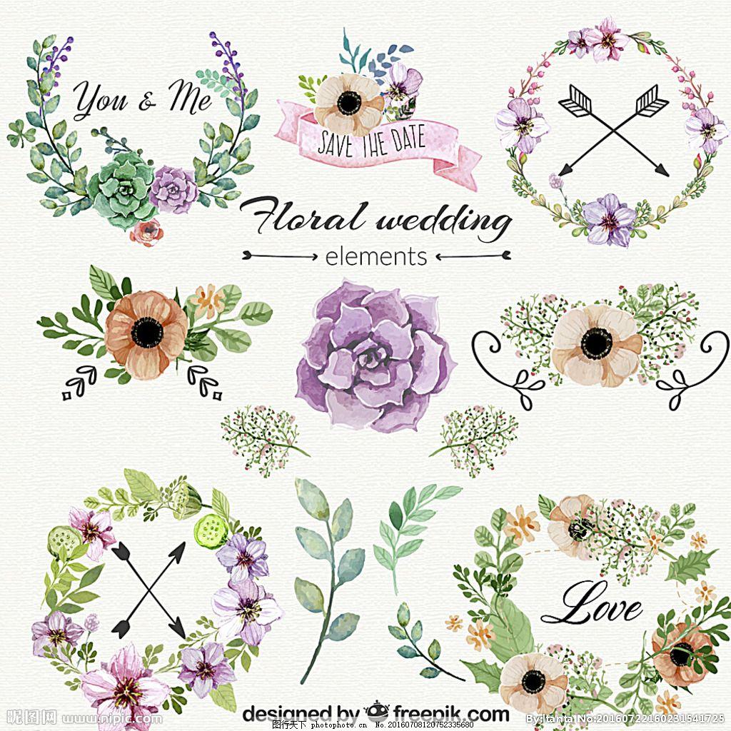 唯美手绘花边花圈花ai,可爱 花卉 紫色 叶子 藤蔓-图