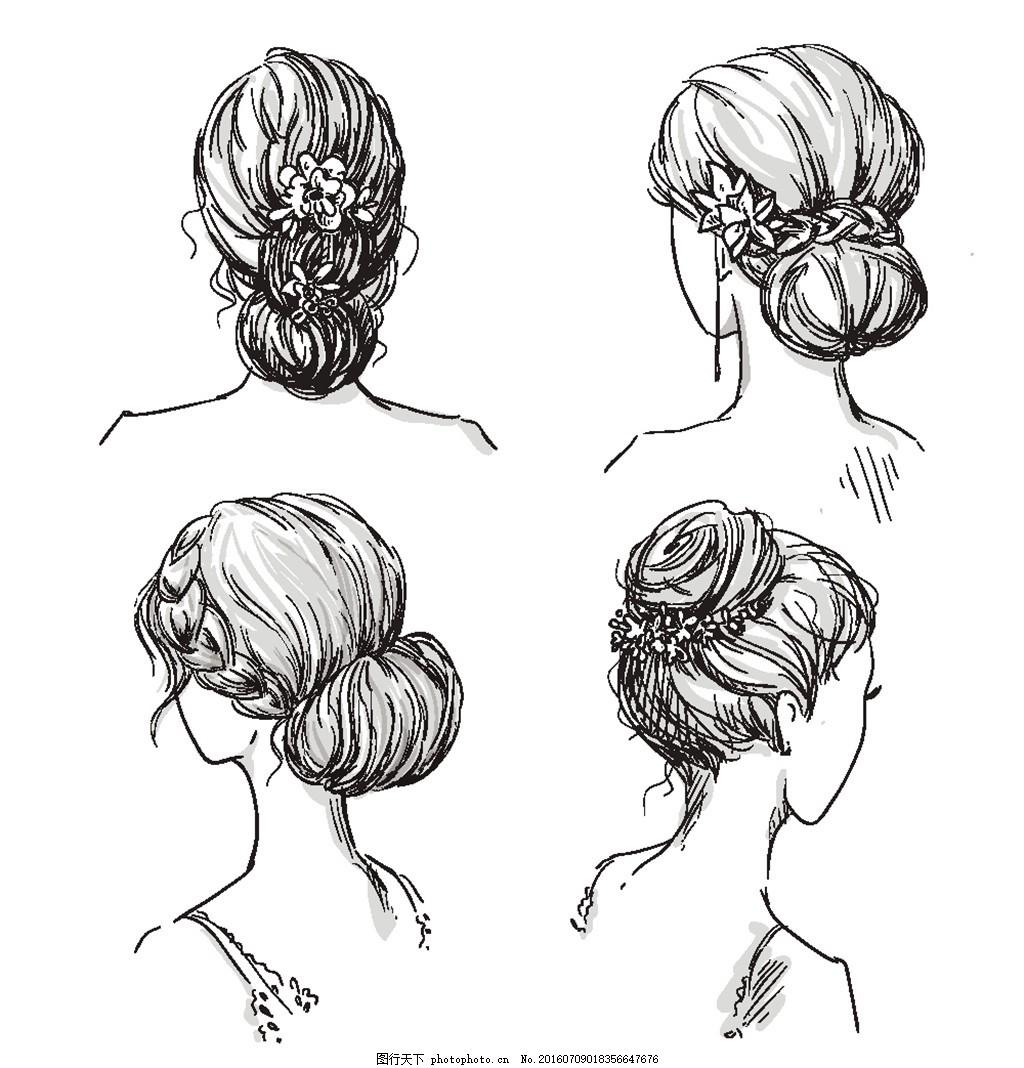 手绘美女发型插画