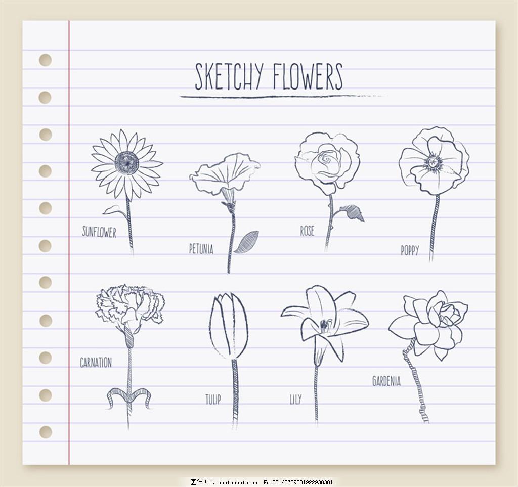 8款纸张上的手绘花朵矢量素材