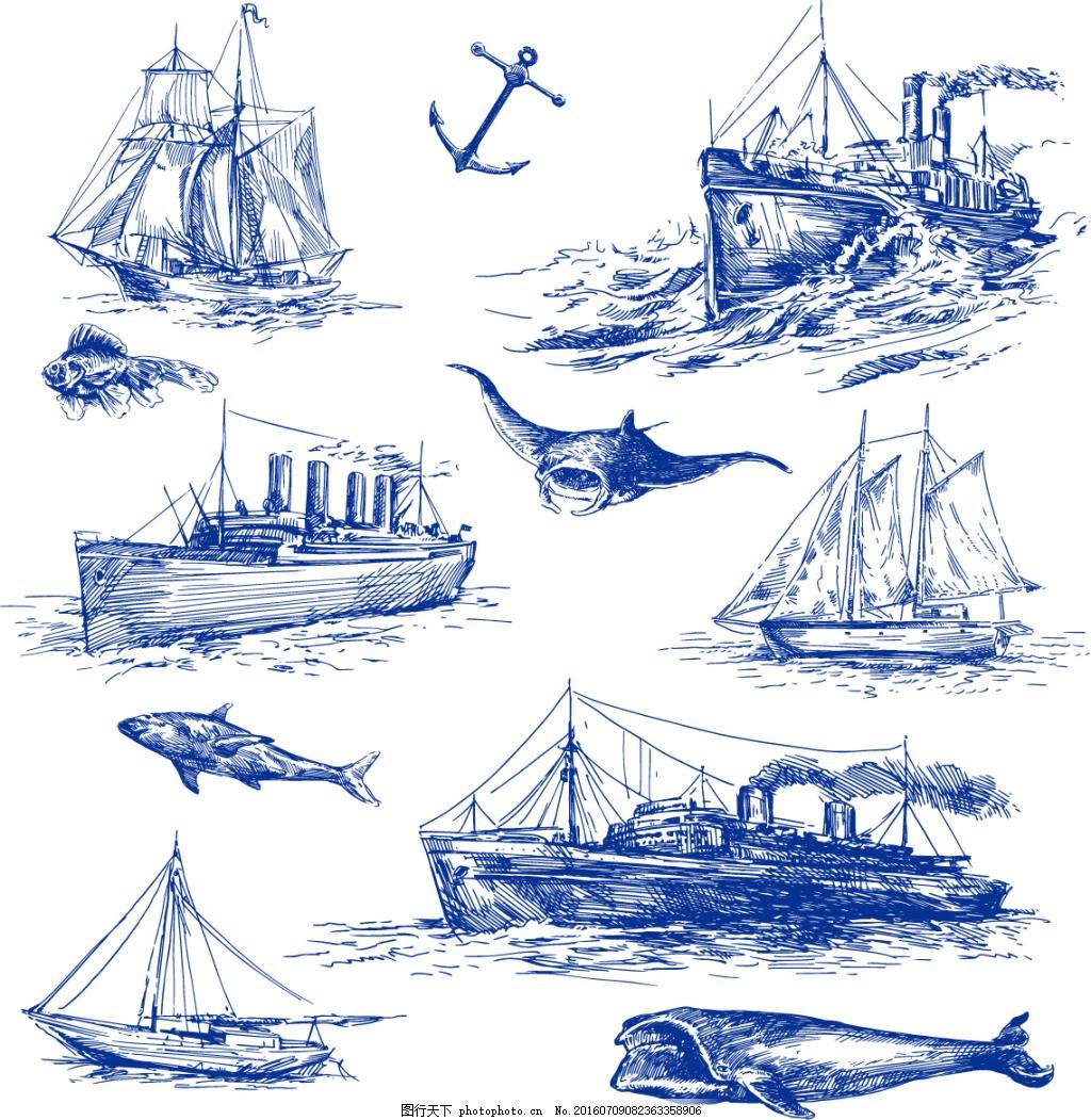 船的速写风景画