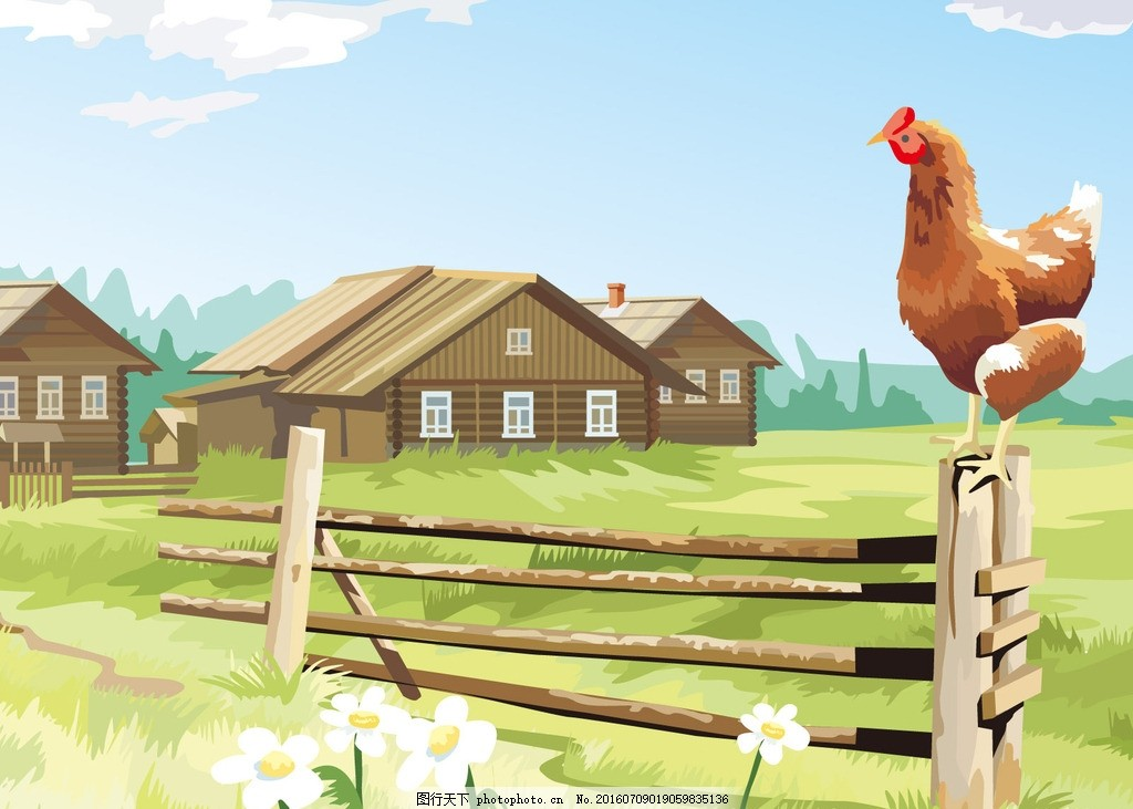手绘田园农家小院 手绘 田园 农家 小院 房子      设计 文化艺术