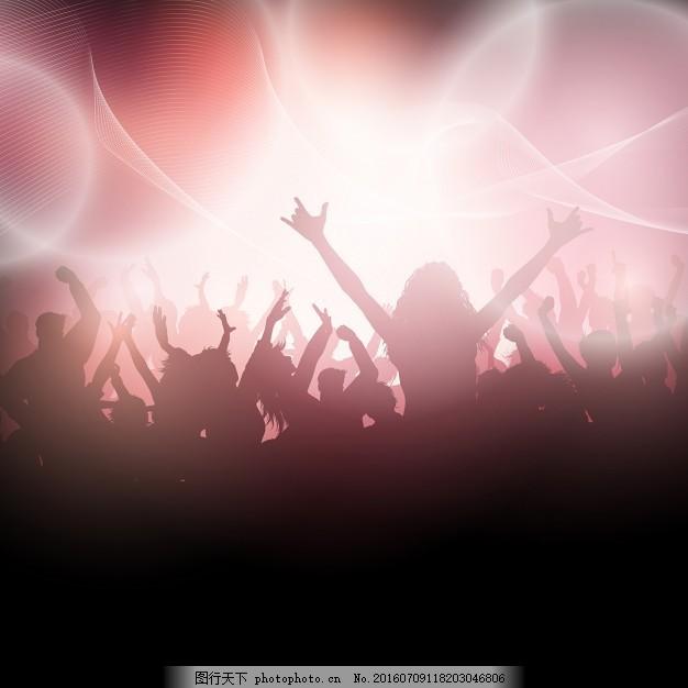 音乐派对,剪影 背景 人民 党灯 壁纸 庆祝节日 闪烁 灯光