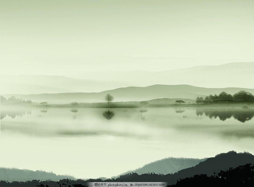 山水背景 水墨湖景 山水素材 树 写意风景背景 中国风山水素材