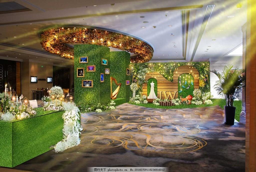 森系 婚礼        婚礼效果图 森林 签到 婚礼背景 绿色 蘑菇 鹿 木板