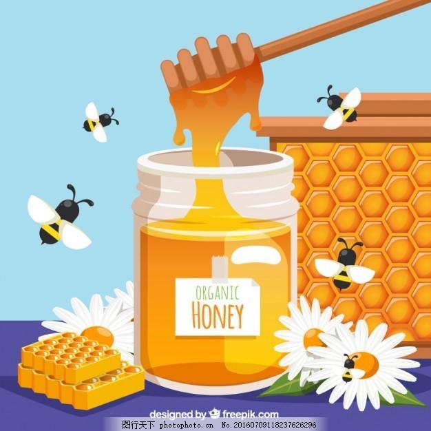 有机蜂蜜和蜜蜂 自然 动物 标签 蜜蜂 蜂蜜 有机 甜 六边形 贴纸 装饰