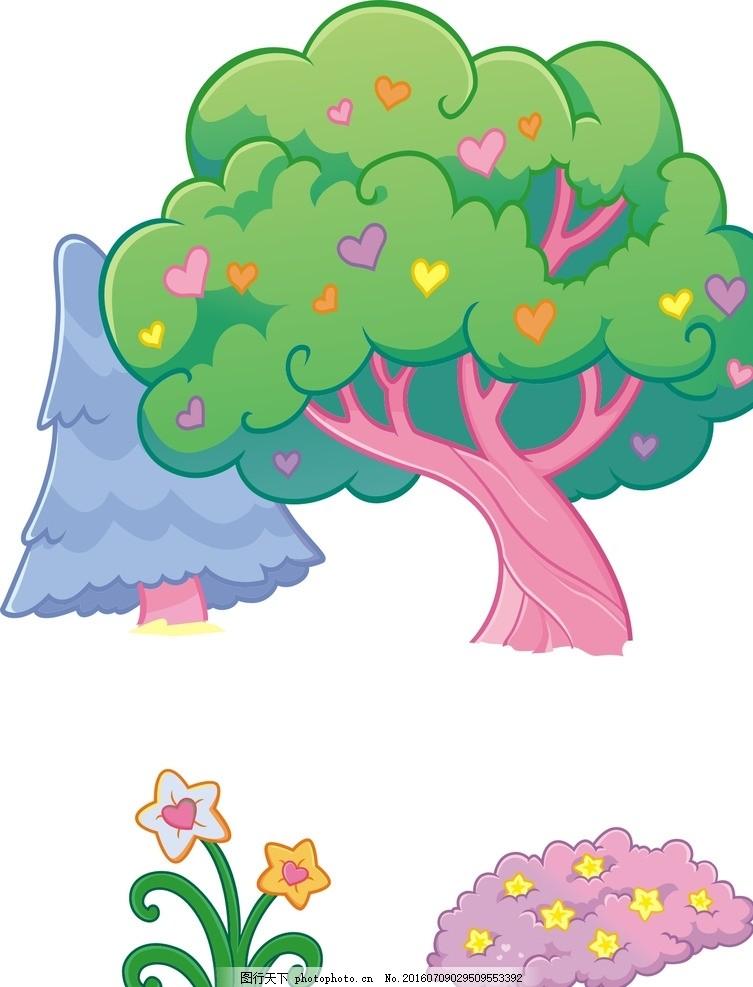 卡通树木 花朵 松树 卡通素材 可爱 手绘素材 儿童素材 幼儿园素材