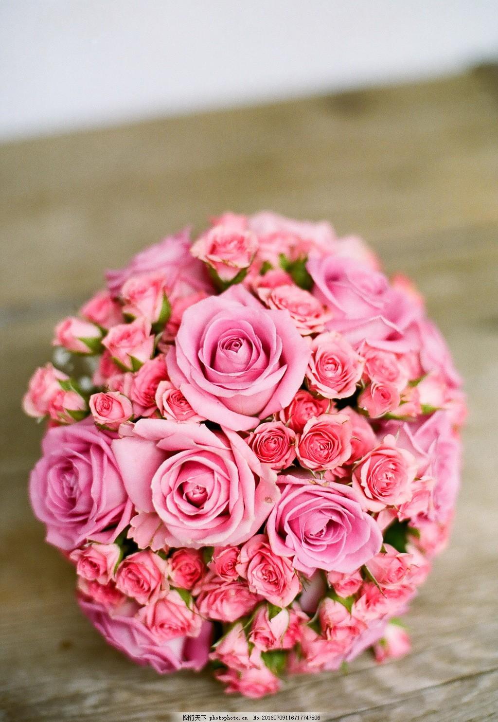 唯美粉色玫瑰花球图片