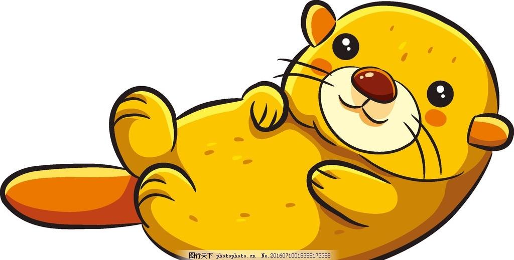 海狸 海洋 大海 动物 生物 鱼 卡通 可爱 宝宝 动物 设计 动漫动画