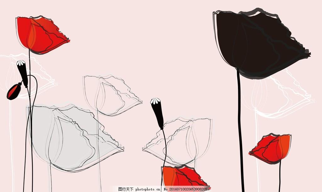 手绘罂粟花背景 抽象 时尚 现代 花卉 简单 背景墙