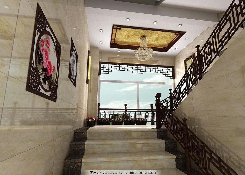 中式会所 楼梯间 公装效果图 吊顶 楼梯扶手 设计 环境设计 室内设计