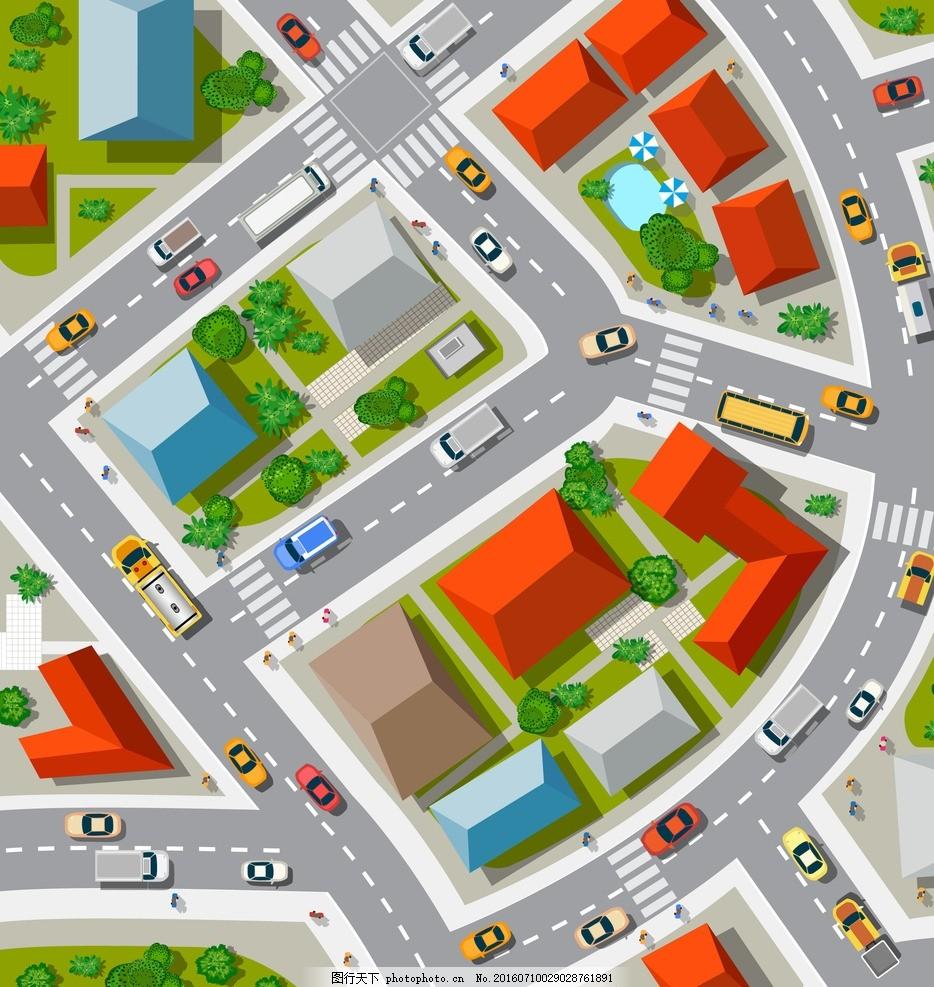 城市街道 鸟瞰 平面图 马路道路 设计 环境设计 其他设计 eps