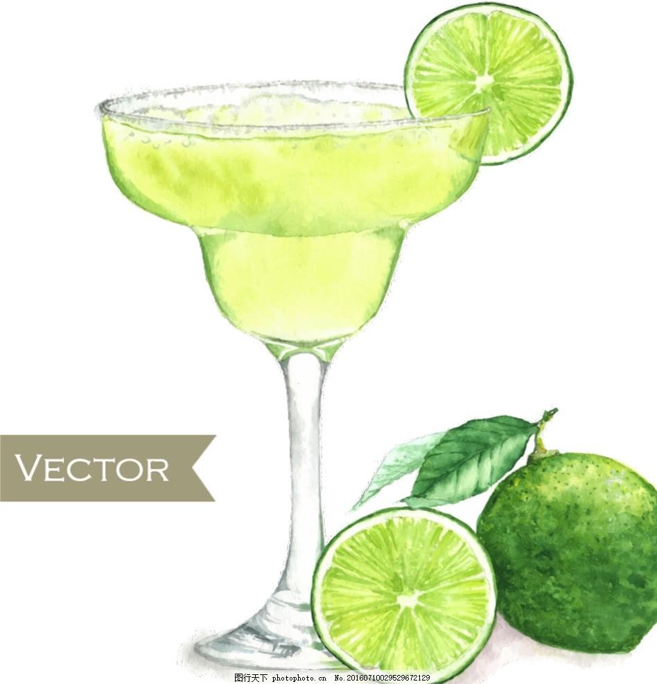 手绘绿色柠檬鸡尾酒矢量图