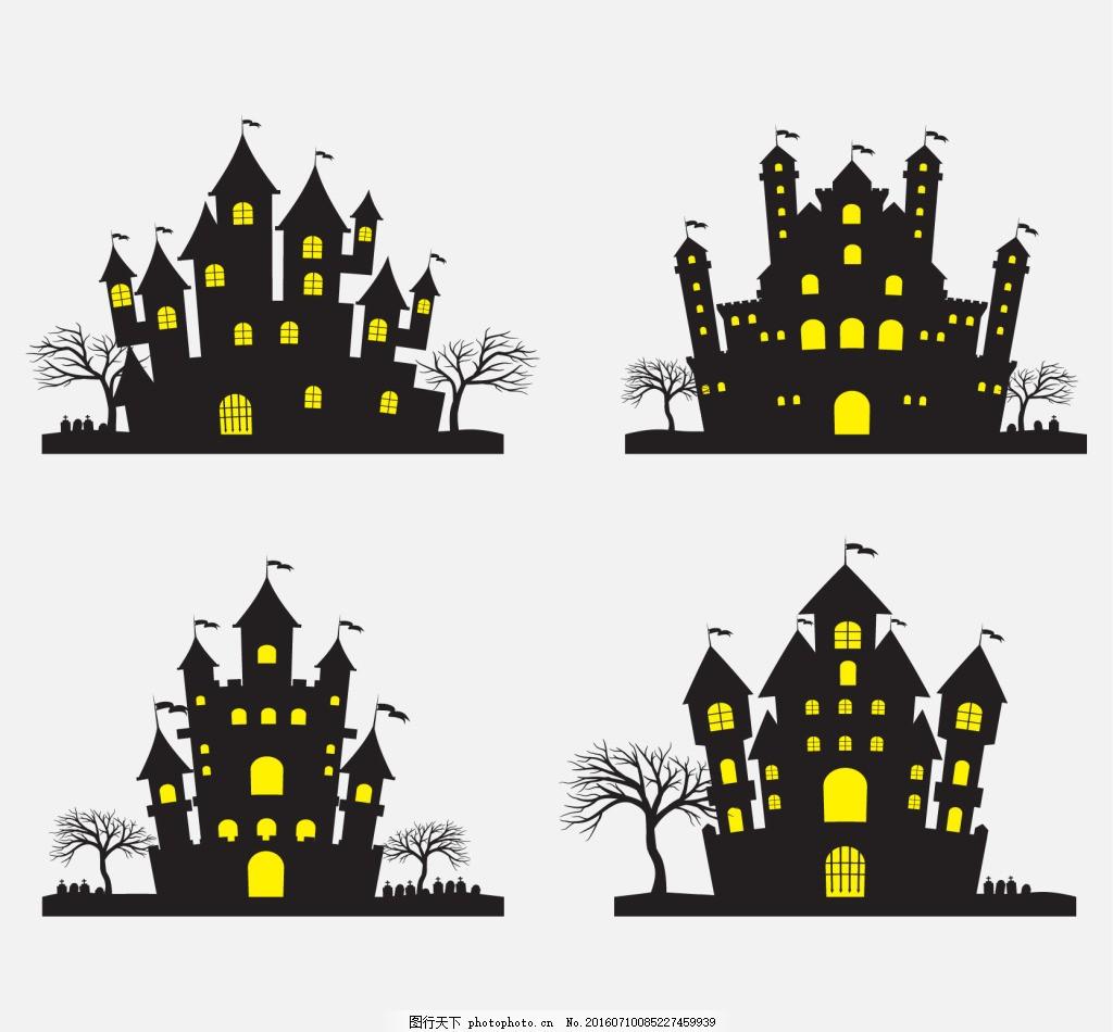 万圣节卡通城堡素材包
