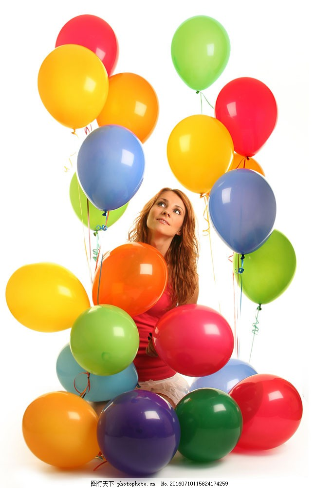 时尚美女与气球图片