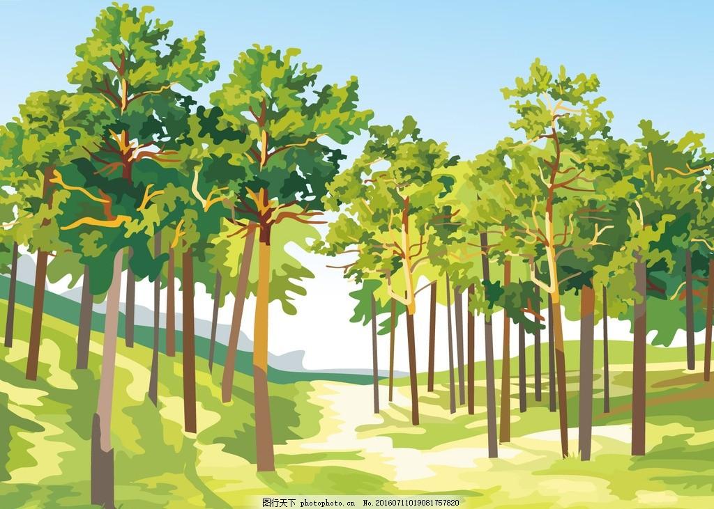 手绘树林小道