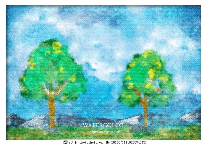 自由矢量水彩景觀 水彩畫 飛濺 墻紙 染色 圖形 油漆 摘要 油墨