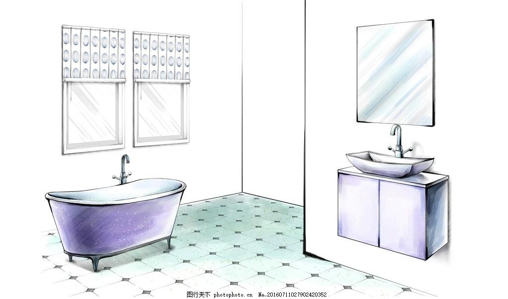 卫生间设计手绘效果 浴缸 洗漱台 洗脸盆 家居 家具 陈列 室内摆设